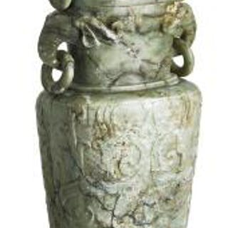A large Chinese covered vase of green jade. Weight c. 9000 g. H. 67 cm.