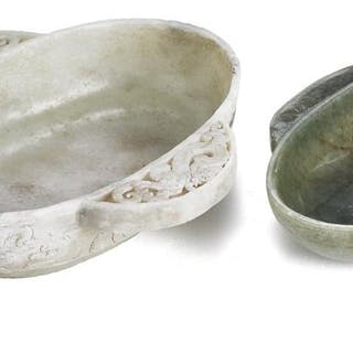Two Chinese brush washers of green and light green jade