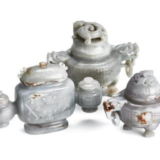 Two Chinese censers and a three-parted vase of grey jade