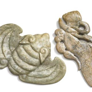 Two Chinese ornaments of jade carved in the shape of a fabulous creature