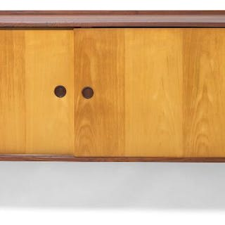 Finn Juhl: Wall mounted sideboard with solid teak case