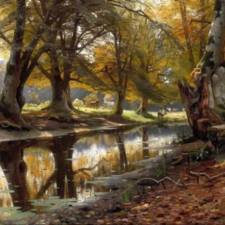 Peder Mønsted: An autumn day with grazing deer by a stream in the Deer Park