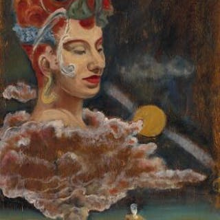 Harry Carlsson: Surrealistic composition. Unsigned. Oil on panel. 49×39 cm.