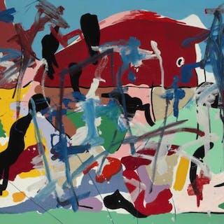 Robert Jacobsen: Untitled. Signed Rob. Jacobsen. Acrylic on canvas. 120×200 cm.