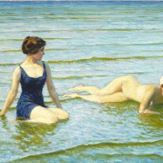 Paul Fischer: Two young women seabathing