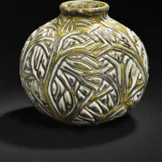 Axel Salto: A round stoneware vase modelled with branches in relief