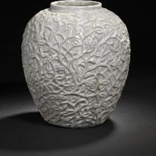 Axel Salto: Stoneware jar modelled with branches