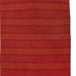 "Swedish design: Handwoven ""rölakan"" carpet of wool in shades of red and orange"