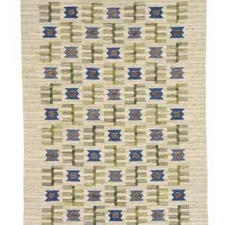 "Svea Norén: Handwoven ""rölakan"" carpet of wool with green..."