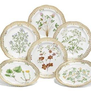 """""""Flora Danica"""" six porcelain plates with pierced border..."""