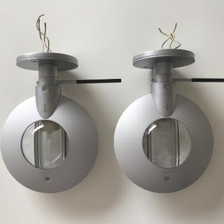 A pair of Occhio Puro chrome wall lamps