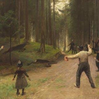 Hans Brasen: Tsar Nicholas II of Russia on battue in Denmark