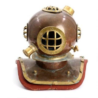 A 20th century copper and brass diving helmet