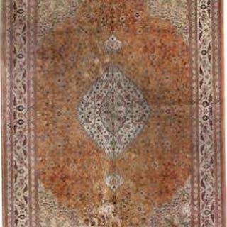 A signed full silk Qum carpet
