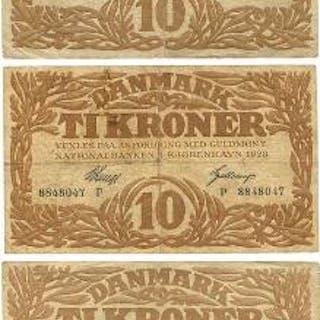10 kr 1928 P, 1937 M, 1942 S, Sieg 103, 105, Pick 21,31. (3)