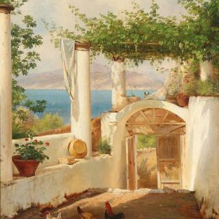 C. F. Aagaard: View from an Italian pergola in the Bay of Naples