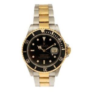 Rolex: A gentleman's wristwatch of 18k gold and steel