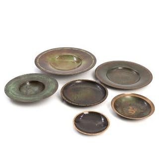 Just Andersen, a.o.: Six patinated bronze bowls. H. 2.5–5.5 cm. (6)