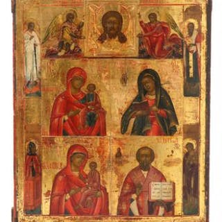 A Russian four parted Mother of God icon
