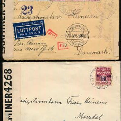 1941. Two interesting censored covers from Klaksvig to Marstal