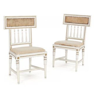 A pair of painted late Gustavian side chairs