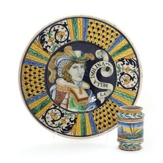 An Italian majolica albarello and a large dish, 19th century. (2)