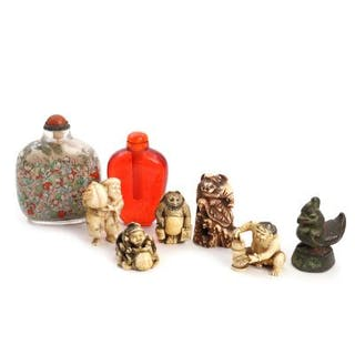 Five Japanese ivory and bone netsukes