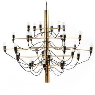 Gino Sarfatti: 30 arm chandelier of brass