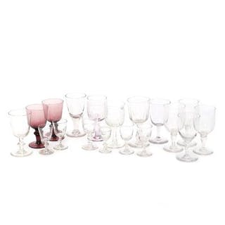 A selection of glass steamware. 20th century. H. 10–17.3 cm. (18)