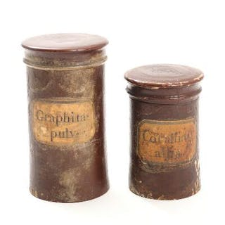 Two 19th century wooden pharmacy jars