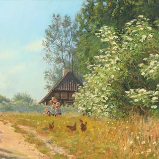 Viggo Langer: Chickens and playing children in front of a house