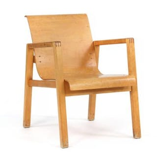 Alvar Aalto: Armchair with frame and laminated seat of birch. Model 51/403.