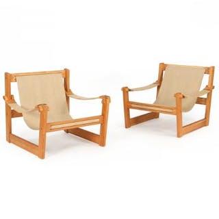 Yngve Ekström: A pair of pine easy chairs