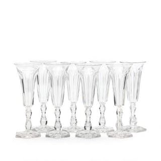 """""""Lalaing,"""" champagne crystal flutes reciding faceted..."""