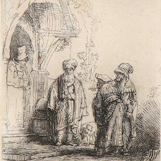 Rembrandt van Rijn: Three oriental figures (Jacob and Laban?)