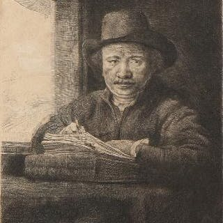 Rembrandt van Rijn: Self-Portrait etching at a Window
