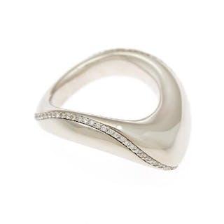 A diamond ring set with numerous brilliant-cut diamonds totalling app
