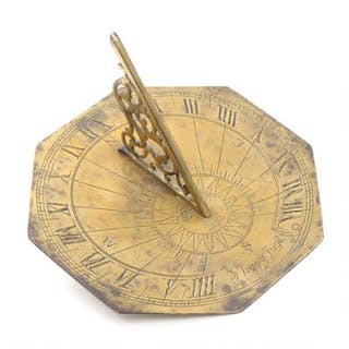 """Tempus Fugit"". A 20th century brass sundial, engraved inscription."