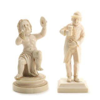 Two carved ivory figurines