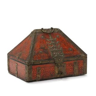 An Indian 19th/20th century painted wood and metal box