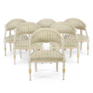 A set of six painted Gustavian style armchairs. Sweden, ca. 1900. (6).