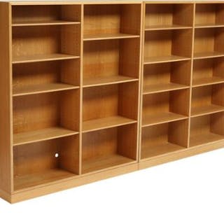 Børge Mogensen: Oak wall unit consisting of two bookcases with matching plinths