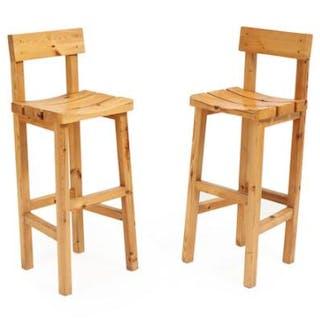Scandinavian furniture design: A pair of pinewood bar stools