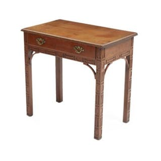 An English Chinese Chippendale style mahogany sideboard