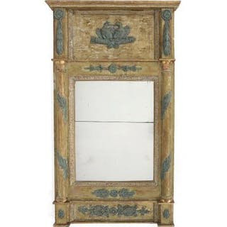 A painted and partially gilded late Gustavian mirror