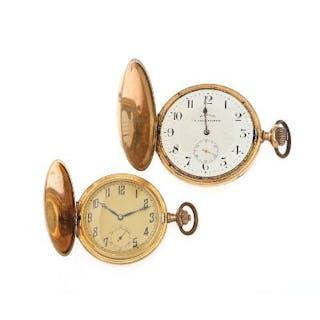 A 14k gold hunter case pocket watch