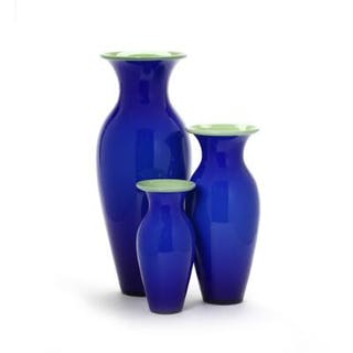 "Anja Kjær: ""Isis."" Three vases of blue glass"