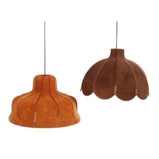 Danish design: Two pendants with suede shades. H. 35. Diam. 52–55 cm. (2)