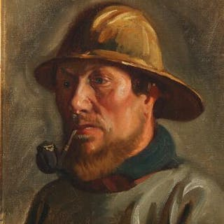 Michael Ancher: Portrait of a fisherman smoking his pipe