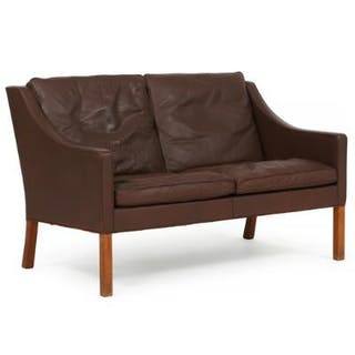 Børge Mogensen: Two seater sofa with mahogany legs